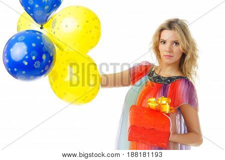 young pretty woman with blue and yellow balloons isolated on white background