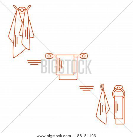 Set Of  Towels Hanging On Different Holders.