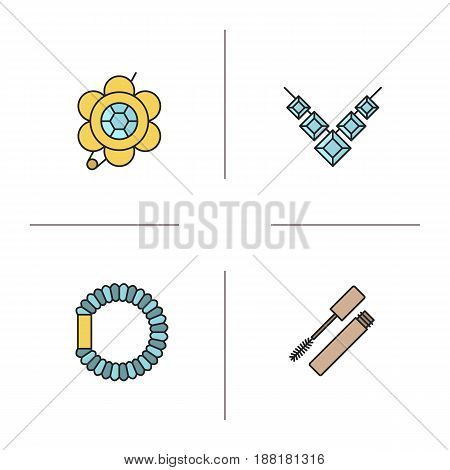 Women's accessories color icons set. Brooch, necklace, hair scrunchy, mascara. Isolated vector illustrations