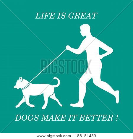 Silhouette Of Man Jogging With Dog On Leash.
