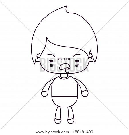 monochrome silhouette of kawaii little boy with unpleasant facial expression vector illustration