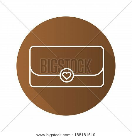 Clutch bag flat linear long shadow icon. Vector line symbol