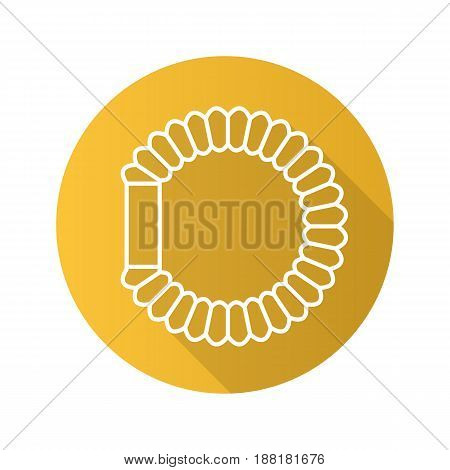 Hair scrunchy flat linear long shadow icon. Bracelet. Vector line symbol