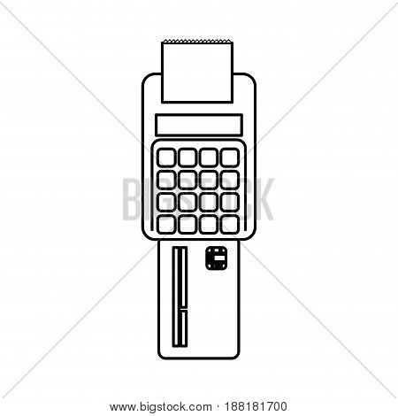 line electronic cashier bank with credit card, vector illustration