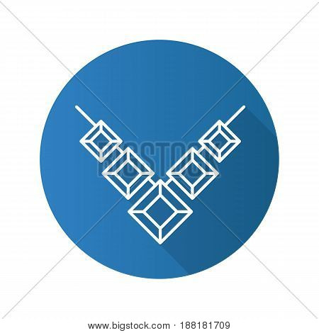 Necklace flat linear long shadow icon. Vector line symbol