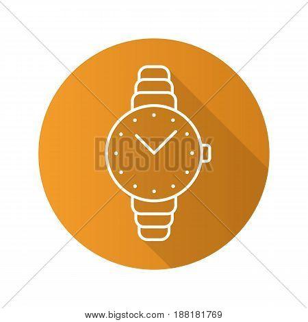Women's wristwatch flat linear long shadow icon. Vector line symbol