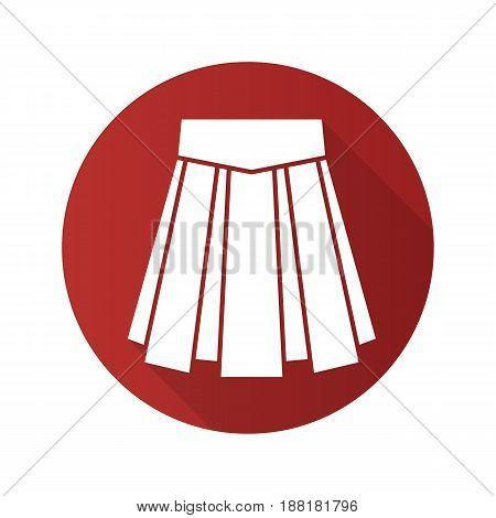 Skirt flat design long shadow icon. Vector silhouette symbol