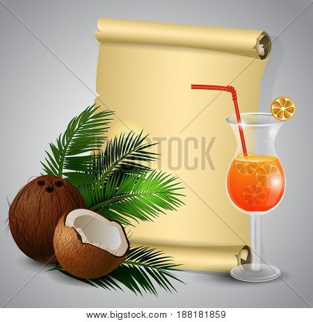 Coconut tropical nut fruit with cut vector illustration isolated with old grange paper roll with plumeria flower and glass of beverage