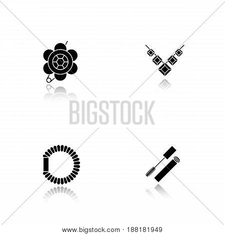 Women's accessories drop shadow black icons set. Brooch, necklace, hair scrunchy, mascara. Isolated vector illustrations