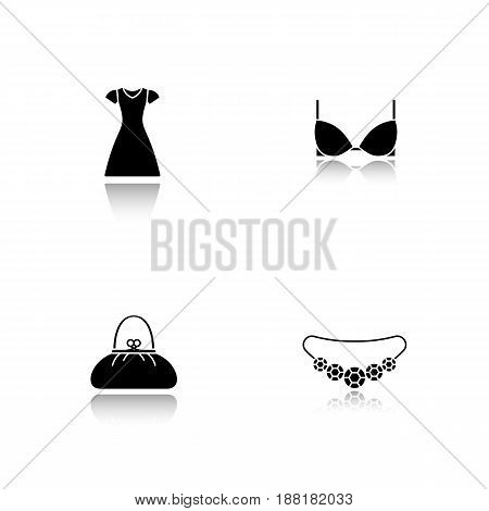 Women's clothes and accessories. Drop shadow black icons set. Sun frock, brassiere, necklace, purse. Isolated vector illustrations