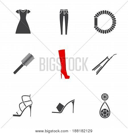 Women's accessories glyph icons set. Silhouette symbols. Sun frock, skinny jeans, hair scrunchy, straightener and brush, high heel boot and shoes, earring. Vector isolated illustration