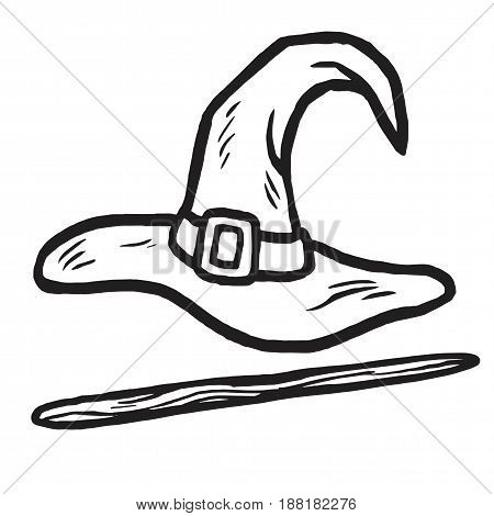 Wizard Hat and Stick Doodle. Icon Isolated on White Background. Vector