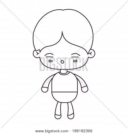 monochrome silhouette of kawaii little boy with facial expression of tired vector illustration