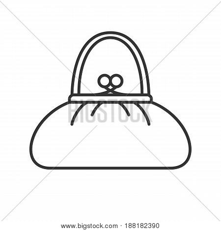 Purse linear icon. Thin line illustration. Women's handbag contour symbol. Clutch bag. Vector isolated outline drawing