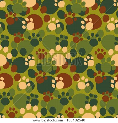 Camouflage seamless pattern. Cute animal paw pattern in khaki colors.