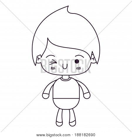 monochrome silhouette of kawaii little boy winking eye vector illustration