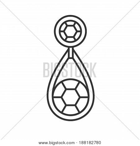 Earring with gemstone linear icon. Thin line illustration. Contour symbol. Vector isolated outline drawing
