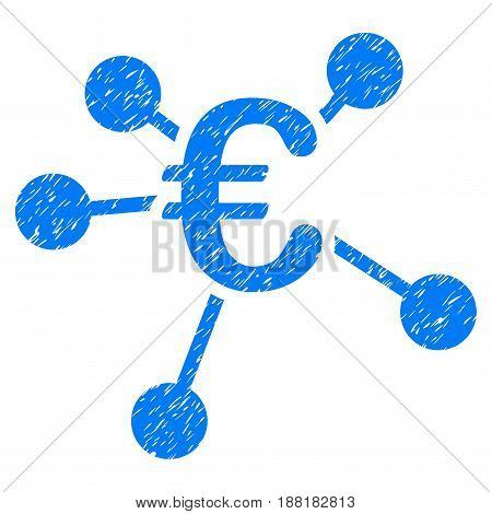 Grunge Euro Distribution icon with grunge design and dust texture. Unclean vector blue pictogram for rubber seal stamp imitations and watermarks. Draft emblem symbol.