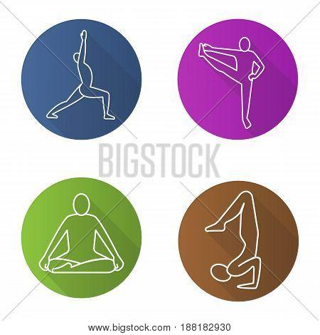Yoga asanas flat linear long shadow icons set. Virabhadrasana, siddhasana, vrishchikasana, utthita hasta padangusthasana yoga positions. Vector line illustration