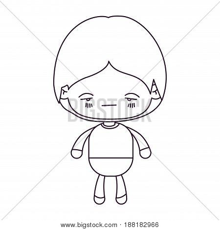 monochrome silhouette of kawaii little boy with facial expression nervous vector illustration