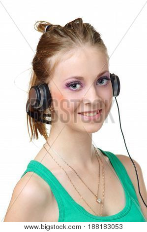 young female or girl with headphones looking at you isolated on white background