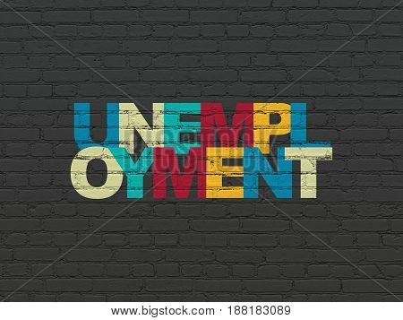 Business concept: Painted multicolor text Unemployment on Black Brick wall background