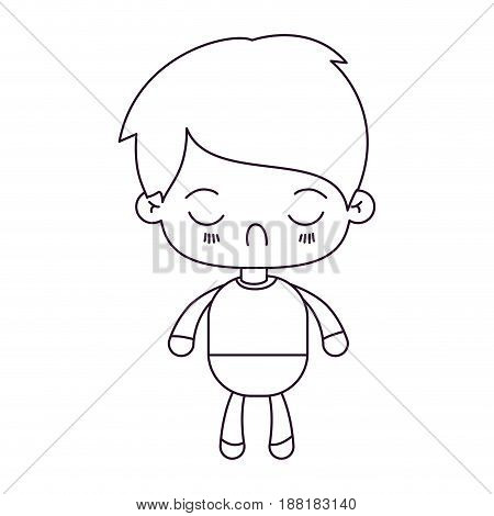 monochrome silhouette of kawaii little boy with facial expression disgust with closed eyes vector illustration