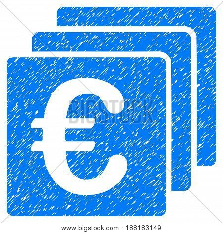 Grunge Euro Finances icon with grunge design and scratched texture. Unclean vector blue pictogram for rubber seal stamp imitations and watermarks. Draft sign symbol.