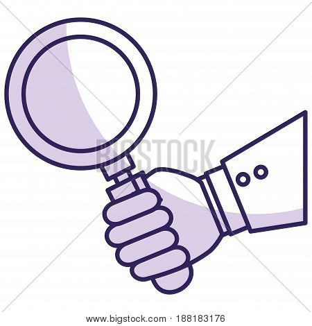 hand human with search magnifying glass icon vector illustration design