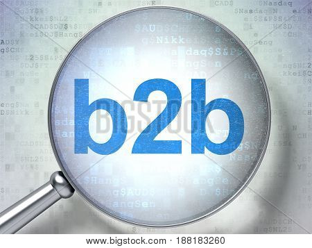 Business concept: magnifying optical glass with words B2b on digital background, 3D rendering