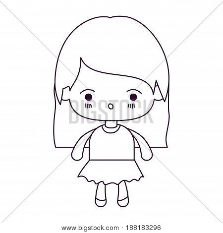 monochrome silhouette of kawaii little girl with straight hair and facial expression surprised vector illustration