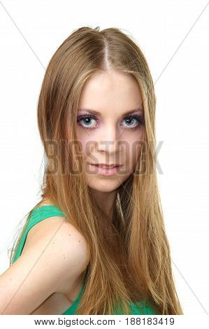 beauty portrait of young woman looking at you studio isolated on white background