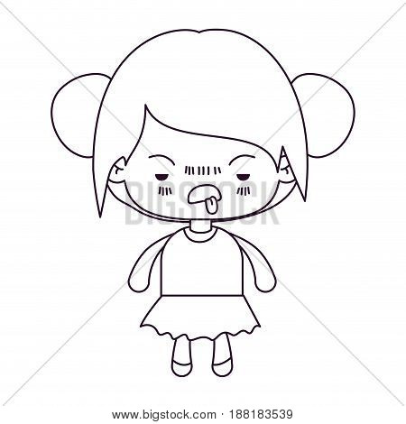 monochrome silhouette of kawaii little girl with collected hair and facial expression unsavory vector illustration