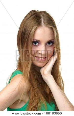young smiling woman looking at you isolated on white background