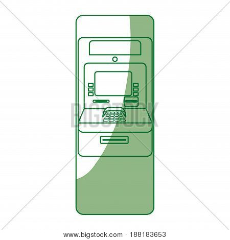 silhouette electronic cashier to withdraw cash money, vector illustration