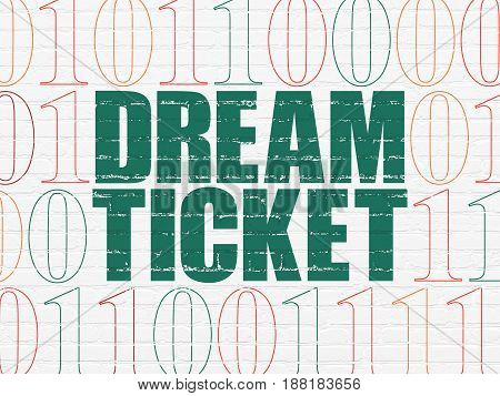 Finance concept: Painted green text Dream Ticket on White Brick wall background with Binary Code