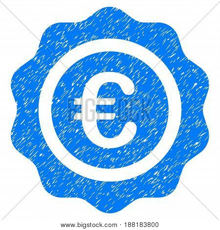 Grunge Euro Quality Seal icon with grunge design and dust texture. Unclean vector blue pictogram for rubber seal stamp imitations and watermarks. Draft emblem symbol.