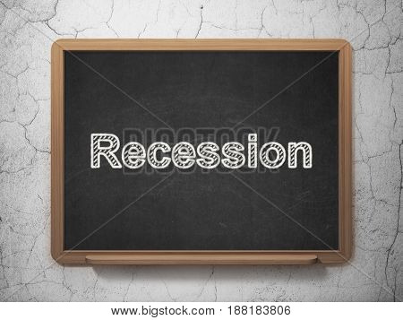 Finance concept: text Recession on Black chalkboard on grunge wall background, 3D rendering