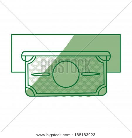 silhouette electronic cashier bank with bill cash money, vector illustration