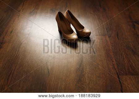 Beautiful Beige Shoes On Wooden Floor In The Morning, Bridal Morning, Wedding Preparation