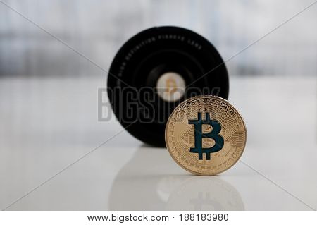 Gold Bitcoin Coin - Lenses Concept