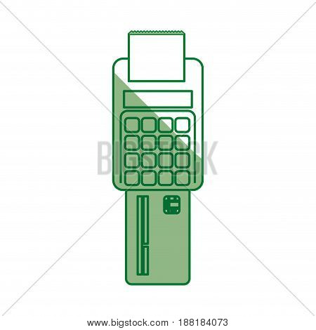 silhouette electronic cashier bank with credit card, vector illustration