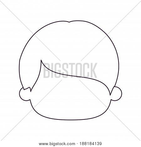 monochrome silhouette of faceless head of little boy with short straight hair vector illustration
