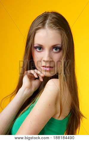 young pretty and cute woman looking in camera
