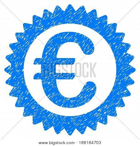 Grunge Euro Reward Stamp icon with grunge design and unclean texture. Unclean vector blue pictogram for rubber seal stamp imitations and watermarks. Draft emblem symbol.