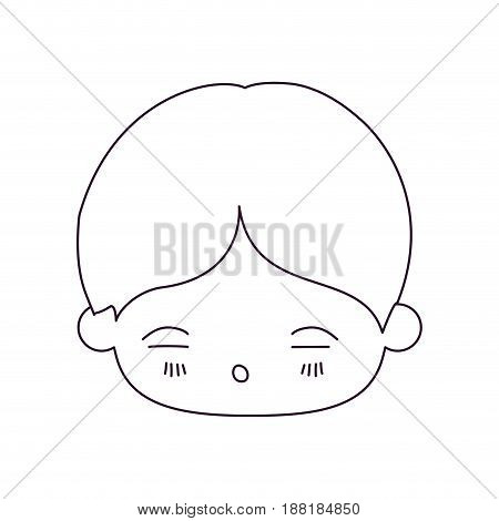 monochrome silhouette of kawaii head of little boy with facial expression of tired vector illustration
