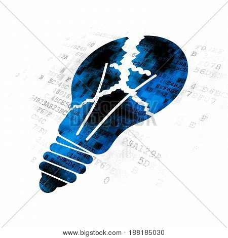 Finance concept: Pixelated blue Light Bulb icon on Digital background