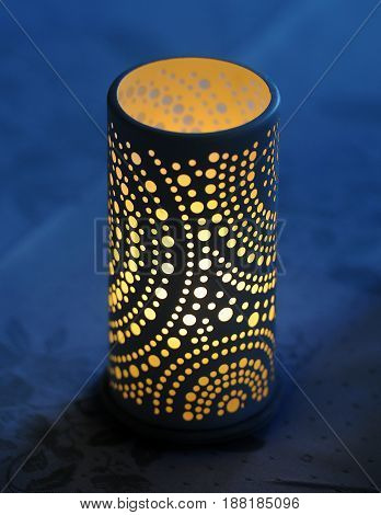 Candlestick gives light at night. Luxury decorative candlestick
