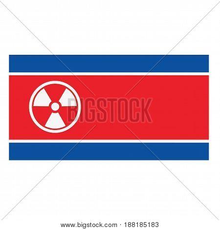 Nuclear Sign on North Korea Flag Vector