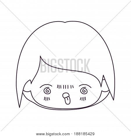monochrome silhouette of kawaii head of little boy with facial expression furious in closeup vector illustration